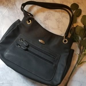 Reflections Bags - Black Reflections Purse Bag Tote Multi Pockets